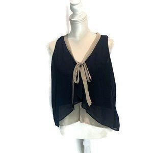 Paper Crane Navy Blue Sheer Button Up Shirt M